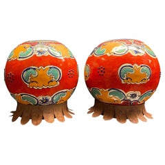 Pair of Chinese Export Enameled Cache Pots with Iron Bases, circa 1970