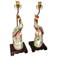 Pair of Chinese Export Famile Verte Birds of Paradise Figures, Now as Lamps