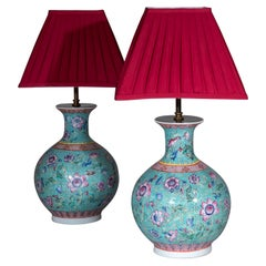 Pair of Chinese Export Famille Rose Vase Lamps Turquoise and Pink