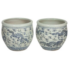 Pair of Chinese Export Fishbowl Planters