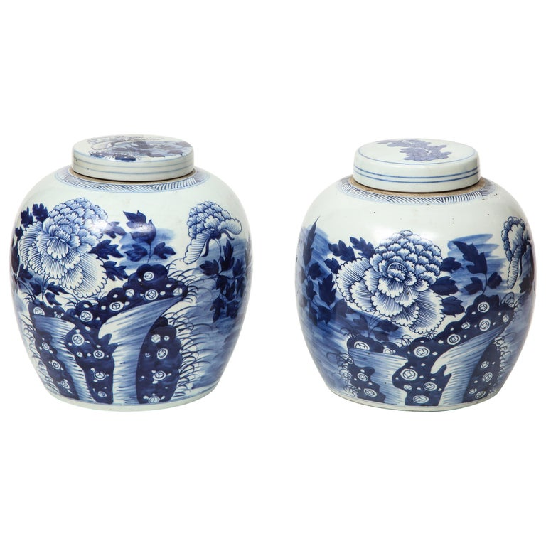 Pair of Chinese Export Ginger Jars For Sale