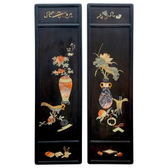Pair of Chinese Export Inlaid Hardstone Still Life Panels