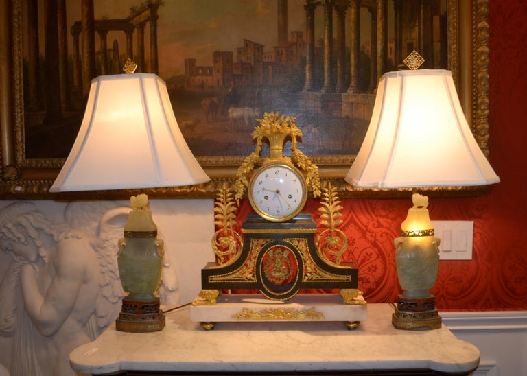 20th Century Pair of Chinese Export Jadeite Stone Lamps For Sale
