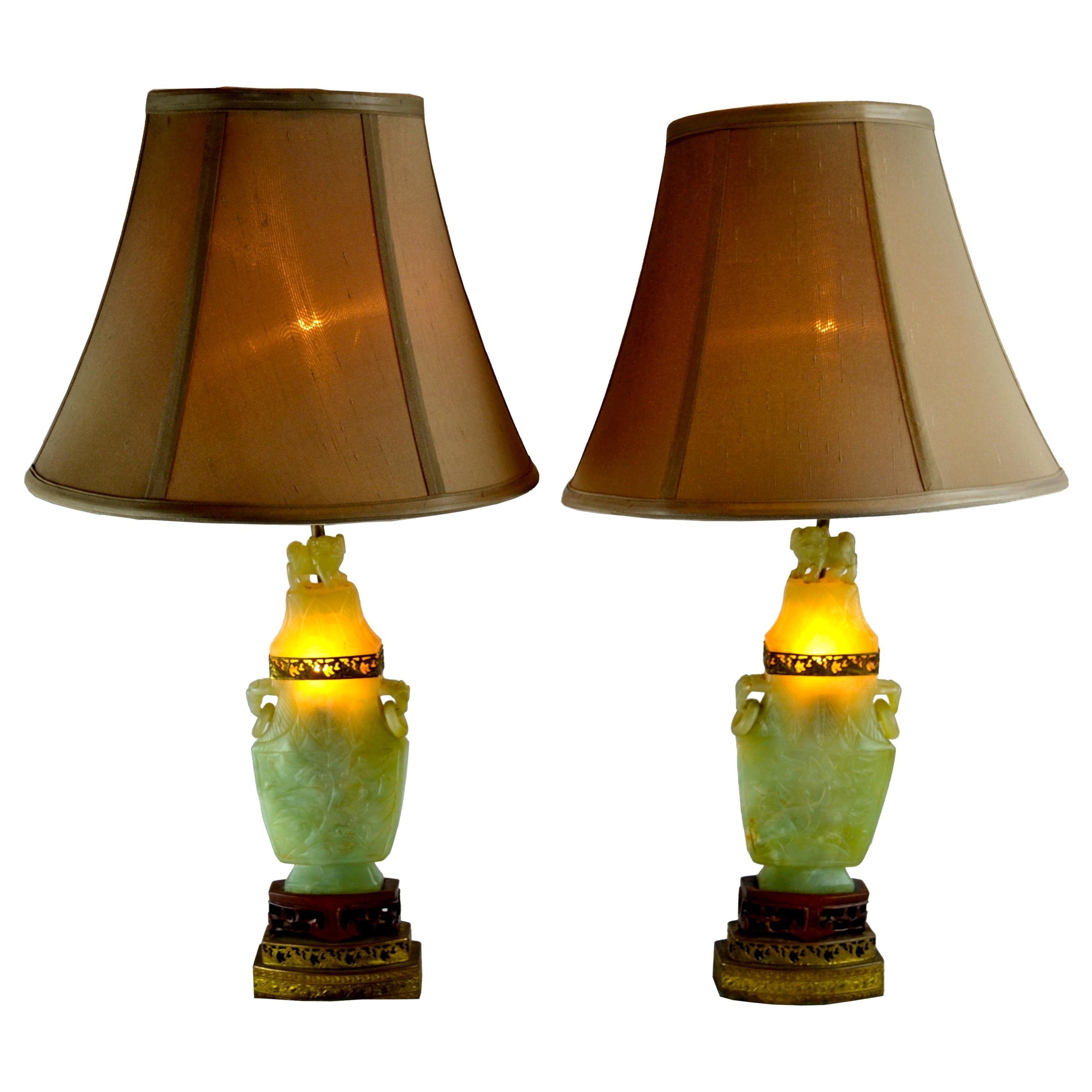 Pair of Chinese Export Jadeite Stone Lamps