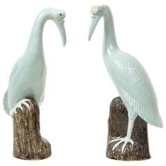Pair of Chinese Export Porcelain Figures of Cranes