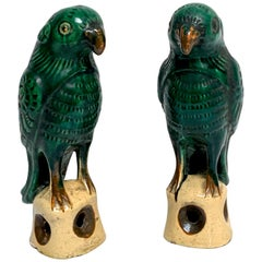 Pair of Chinese Export Porcelain Green Glazed Parrots
