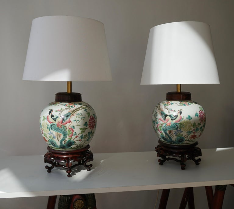 Pair of Chinese Export Porcelain Painted Ginger Jar Table Lamps with Birds For Sale 4
