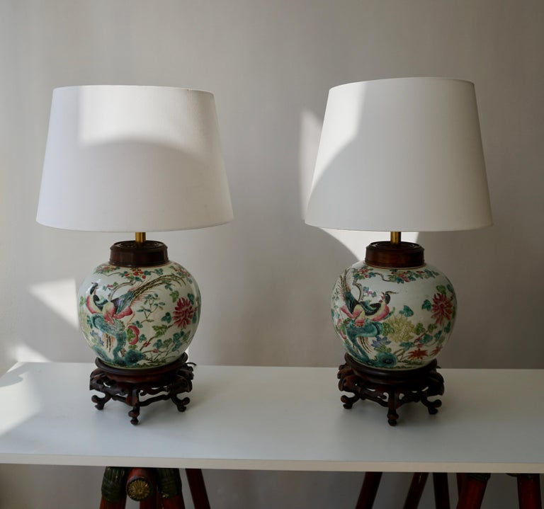 Pair of Chinese Export Porcelain Painted Ginger Jar Table Lamps with Birds For Sale 5