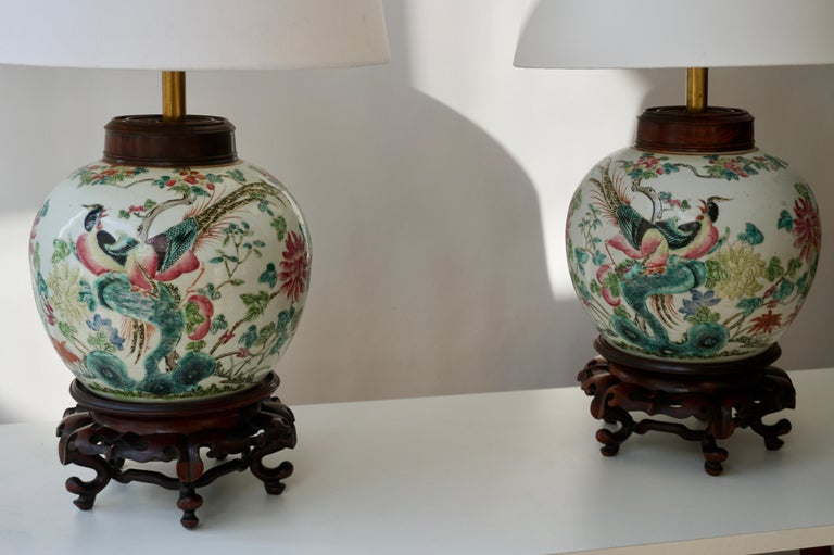 Pair of Chinese Export Porcelain Painted Ginger Jar Table Lamps with Birds For Sale 6