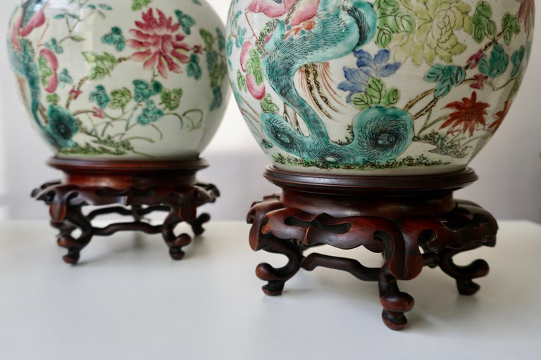 Pair of Chinese Export Porcelain Painted Ginger Jar Table Lamps with Birds For Sale 9