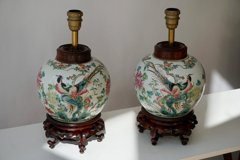 Pair of elegant Chinese porcelain painted table lamps with beautiful colorful hand painted birds, butterflys and flowers.  Each of these hand painted ginger jars have wooden lids and are mounted as table lamps on a wooden base. Diameter 21