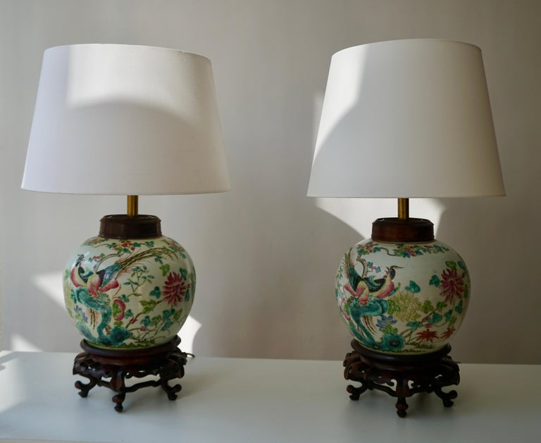 Hollywood Regency Pair of Chinese Export Porcelain Painted Ginger Jar Table Lamps with Birds For Sale
