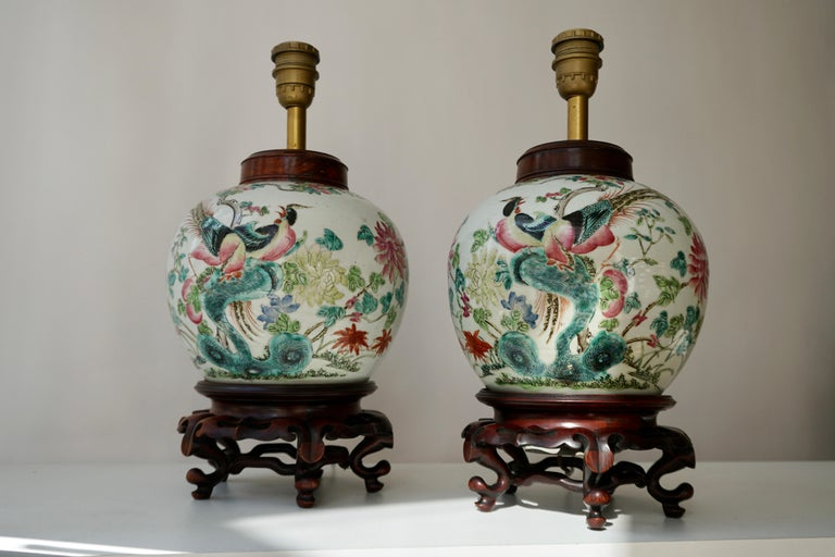 Hand-Painted Pair of Chinese Export Porcelain Painted Ginger Jar Table Lamps with Birds For Sale