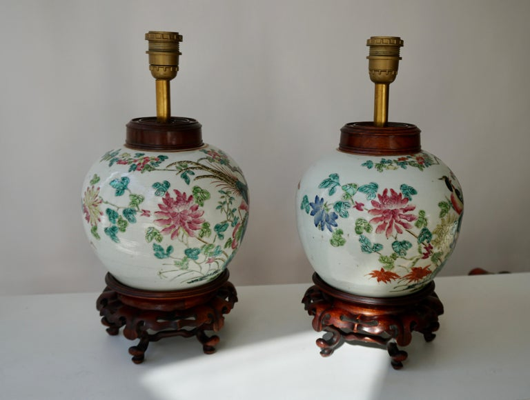 Pair of Chinese Export Porcelain Painted Ginger Jar Table Lamps with Birds For Sale 2