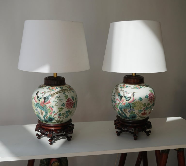 Pair of Chinese Export Porcelain Painted Ginger Jar Table Lamps with Birds For Sale 3