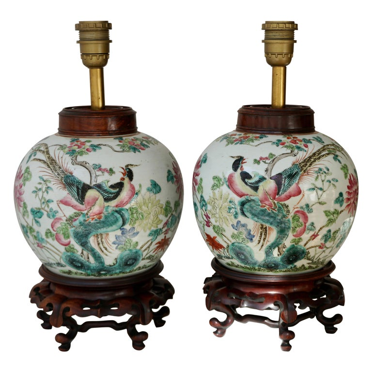 Pair of Chinese Export Porcelain Painted Ginger Jar Table Lamps with Birds For Sale