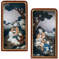 Pair of Chinese Export Reverse Glass Mirror Pictures