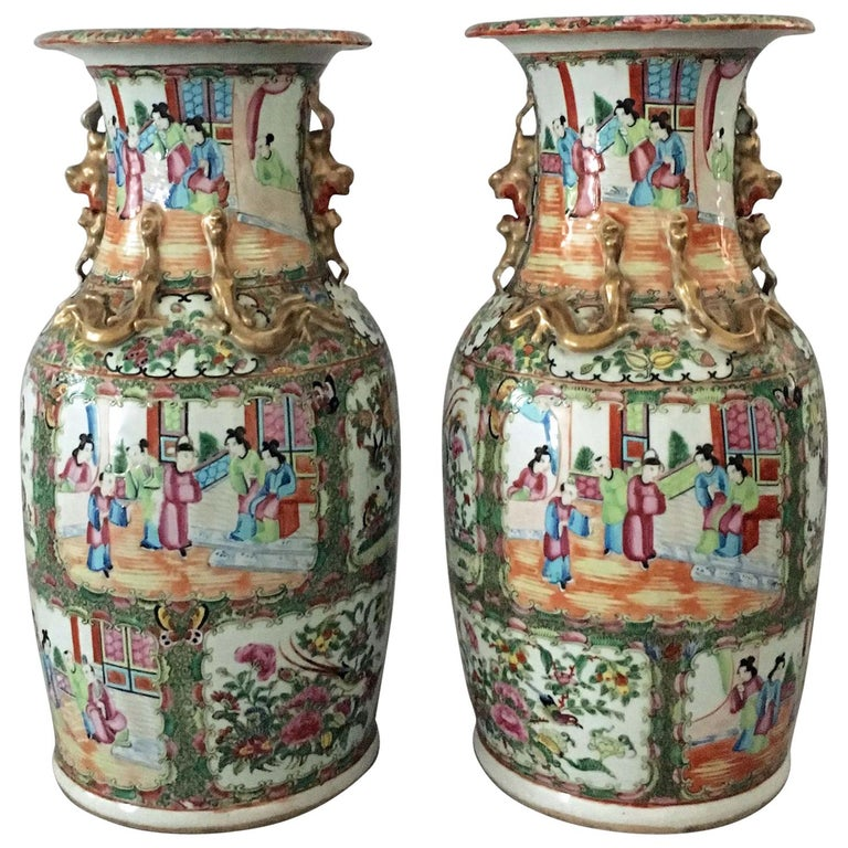 Pair Of Chinese Export Rose Medallion Tall Vases For Sale At 1stdibs