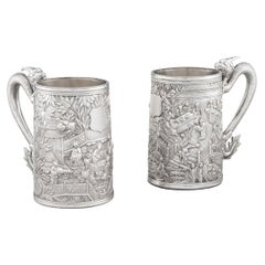 Pair of Chinese Export Silver Tankards