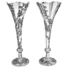 Pair of Chinese Export Silver Vases