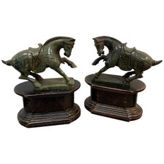 Pair of Chinese Export Hardstone Horses and Stands