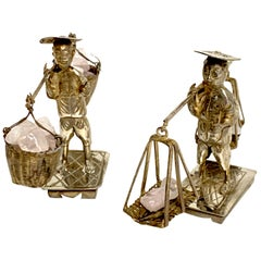 Pair of Chinese Export Sterling Figures of Labourers Carrying Rose Quartz