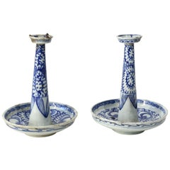 Pair of Chinese Faience Candlesticks