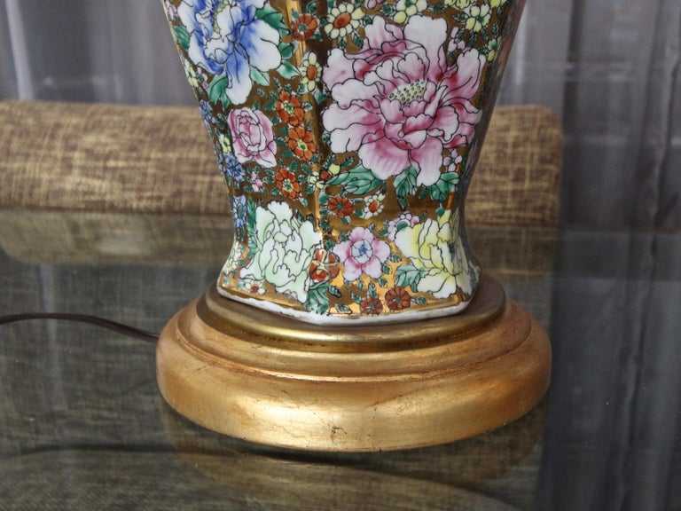 Pair of Chinese Famille Rose Millefleurs Porcelain Vase Table Lamps For Sale 7