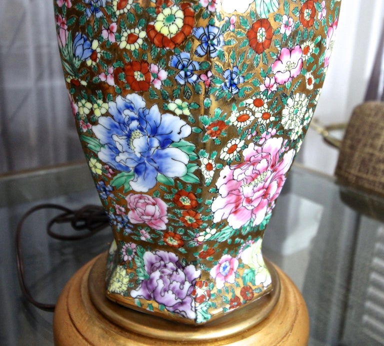 Pair of Chinese Famille Rose Millefleurs Porcelain Vase Table Lamps For Sale 10