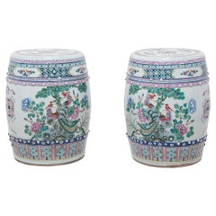 Pair of Chinese Famille Rose Phoenix and Peony Garden Stools