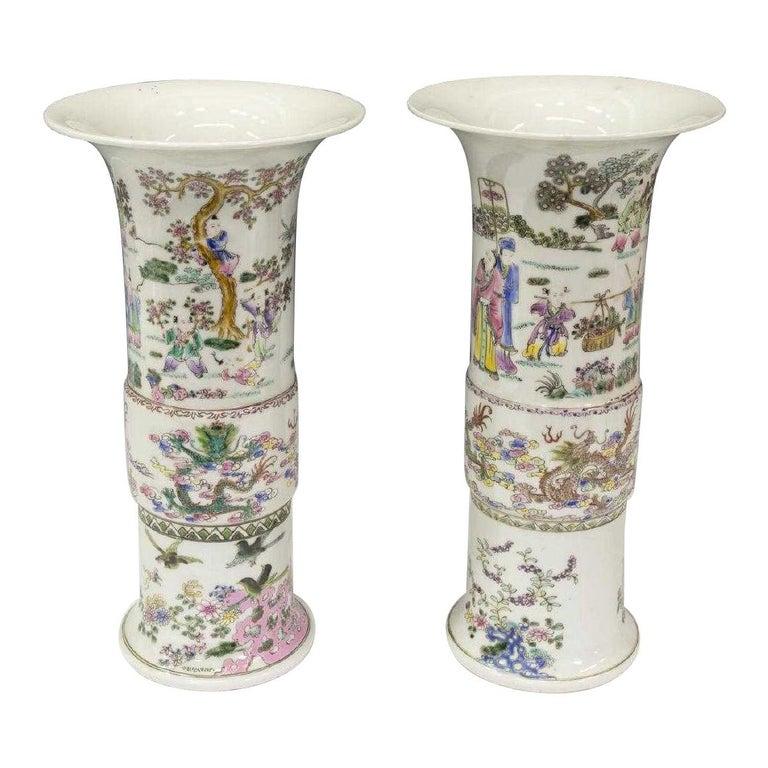 Pair of Chinese Famille Rose Porcelain Beaker Vases For Sale