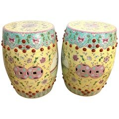 Pair of Chinese Famille Rose Porcelain Garden Stools Seats