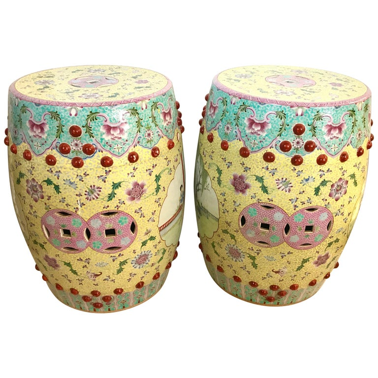 Pair Of Chinese Famille Rose Porcelain, Porcelain Garden Stools Chinese