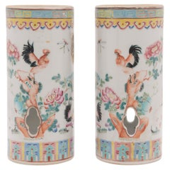 Pair of Chinese Famille Rose Rooster Hat Stands, c. 1900
