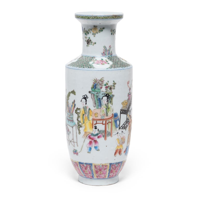 Enameled Pair of Chinese Famille Rose Rouleau Vases, c. 1900 For Sale