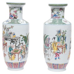 Pair of Chinese Famille Rose Rouleau Vases, c. 1900