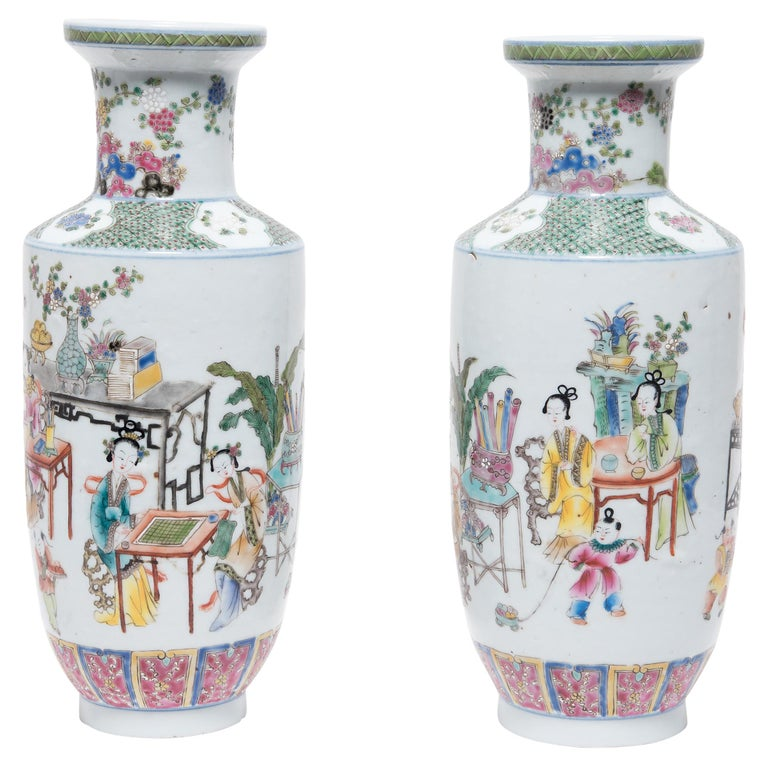 Pair of Chinese Famille Rose Rouleau Vases, c. 1900 For Sale