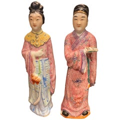 Pair of Chinese Famille Rose Statues Male and Female