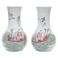 Pair of Chinese Famille Rose Vases with Eight Immortals, c. 1900