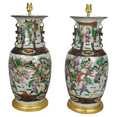 Pair of Chinese Famille Verte 19th Century Table Lamps