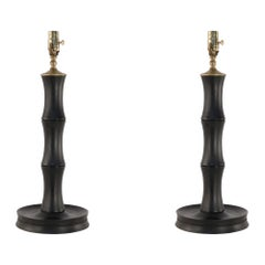 Pair of Chinese Faux Bamboo Wooden Table Lamps