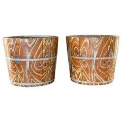 Pair of Chinese Faux-Bois Wood Grain Ceramic Planter Pots