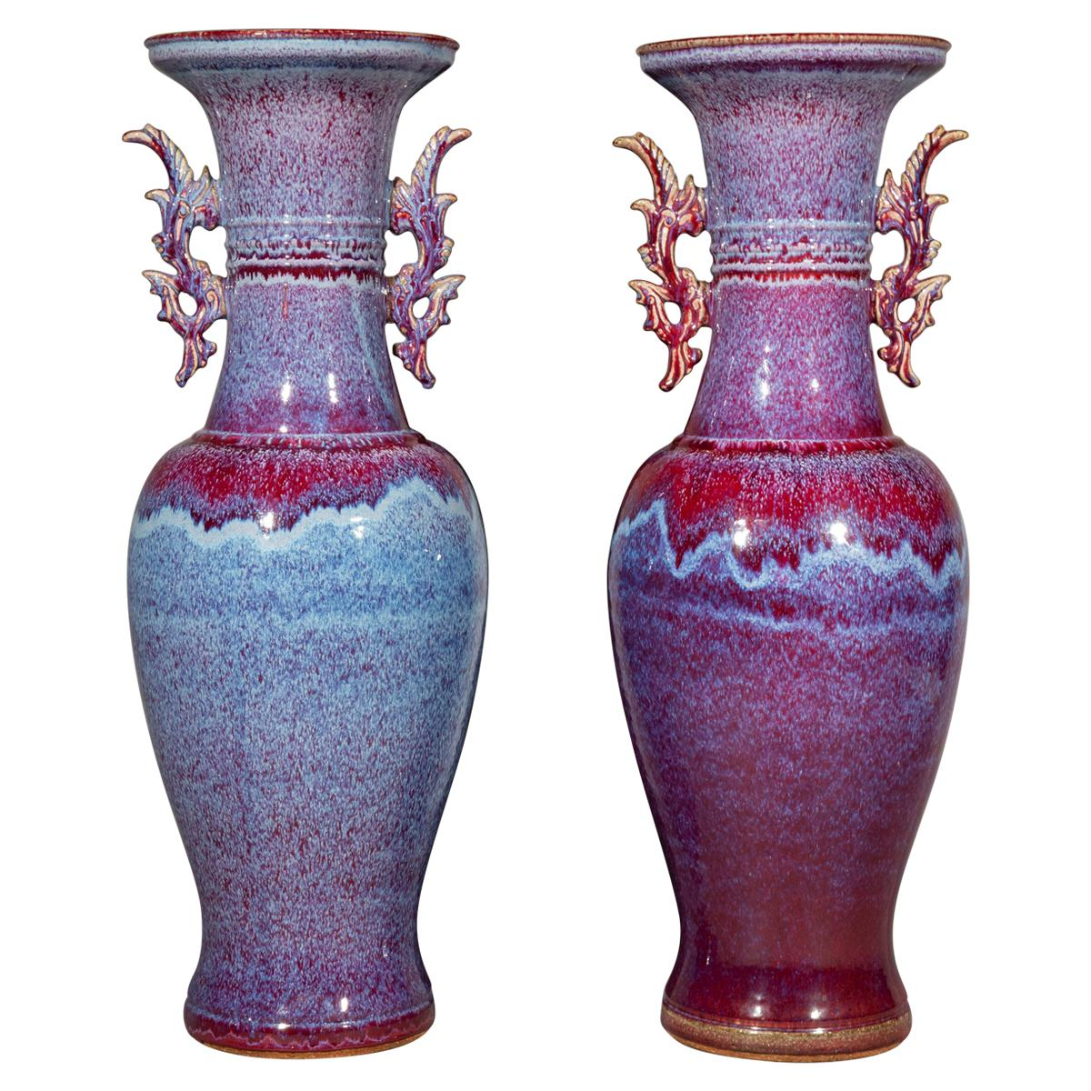 Pair of Chinese Flambé Glazed Floor Vases of Massive Proportions