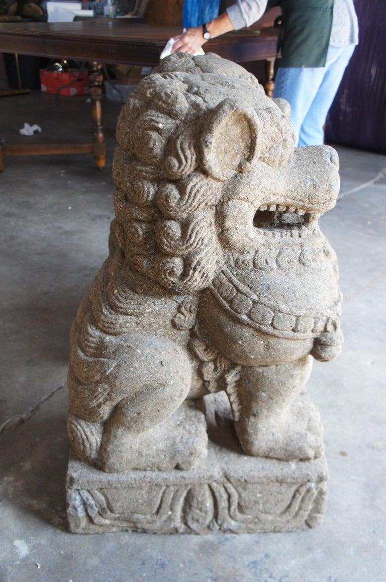 Pair of Chinese Foo Dogs Concrete Statue Guardians Lions Stone Garden For Sale 4