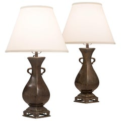 Pair of Chinese Four Sided Bronze Vases Now Lamps