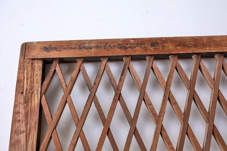 Pair of Chinese Geometric Lattice Window Panels For Sale 4