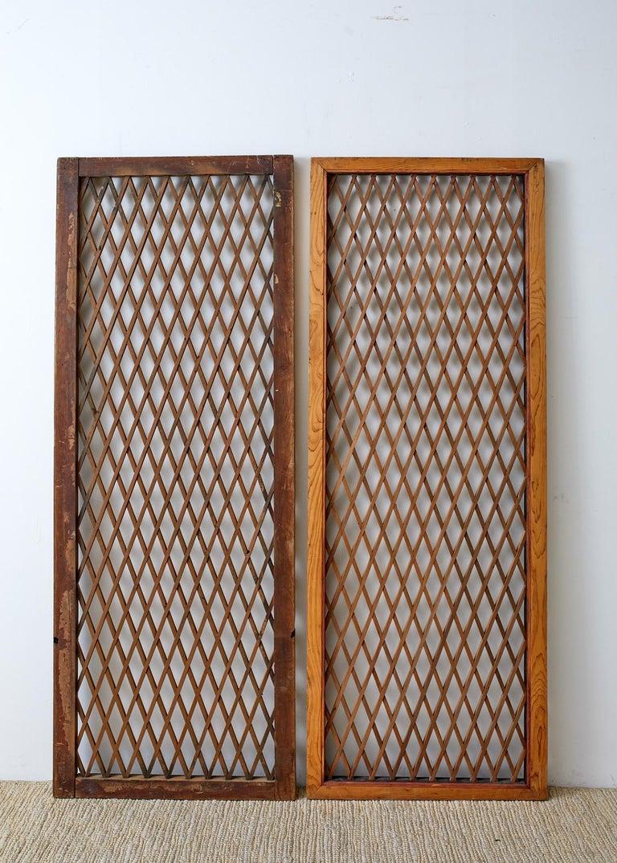 Pair of Chinese Geometric Lattice Window Panels For Sale 5