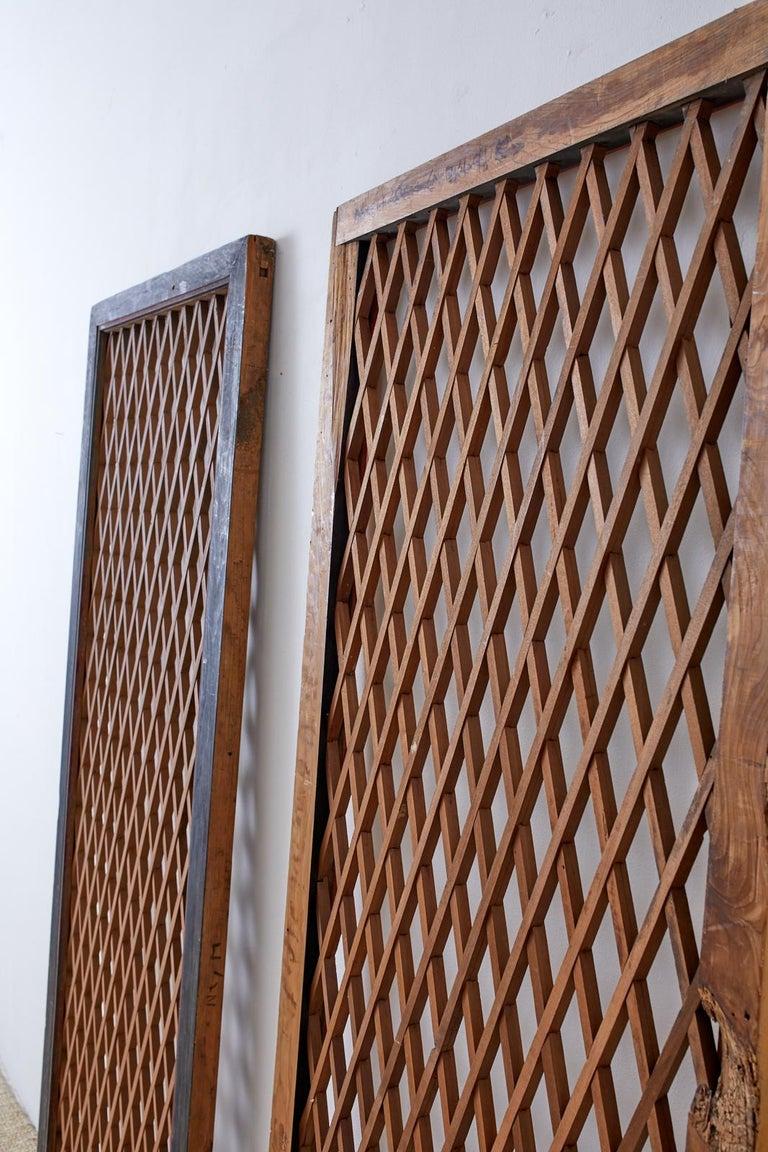 Pair of Chinese Geometric Lattice Window Panels For Sale 7