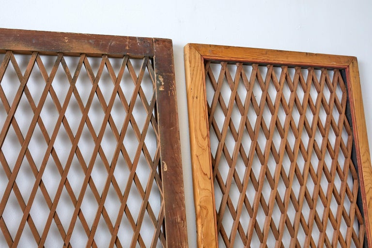 Chinese Export Pair of Chinese Geometric Lattice Window Panels For Sale