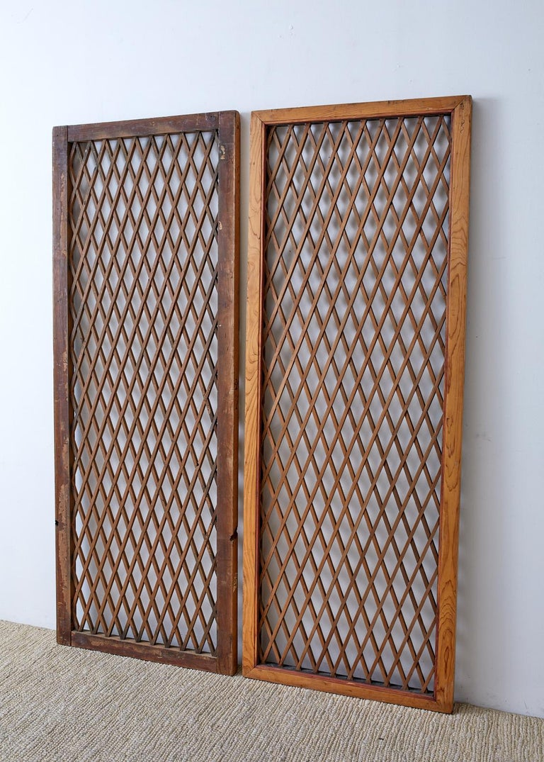 Hand-Crafted Pair of Chinese Geometric Lattice Window Panels For Sale